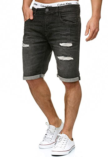 Indicode Herren Caden Jeans Shorts mit 5 Taschen aus 98% Baumwolle | Kurze Denim Stretch Hose Used Look Washed Destroyed Regular Fit Men Short Pants Freizeithose f. Männer Holes - Black L