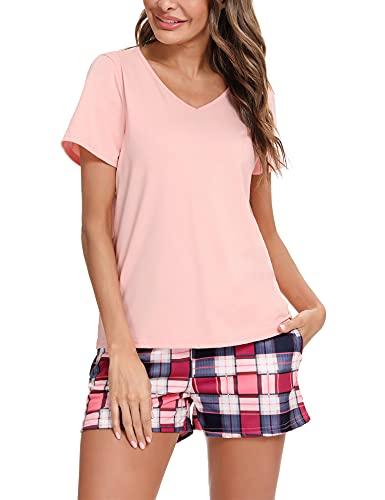 Akalnny Pijamas Mujer Verano Corto con Manga Corta Pijama a Cuadros con Cuello Redondo Ropa de Dormir Estar por Casa Cómodo Suave