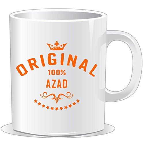 getshirts - Rahmenlos® Geschenke - Tasse - Namenstag - Maenner Vorname 100 Prozent Azad - Uni Uni