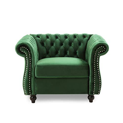 Leila Chesterfield Velvet Club Chair, Emerald
