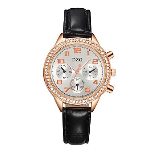 VIMI Relojes Diamond-acentuada Reloj de Cuarzo analógico de Diamantes de dial Grande de Tres Anillos Cuero Fino Reloj de señoras de Las Mujeres Relojes de Pulsera (Color : Black)