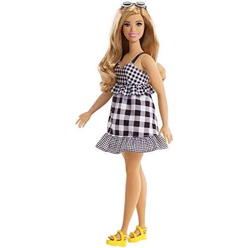 Barbie Fashionistas Bambola in Vestito a Quadri Bianco/Nero, Uno Stile da Collezionare, FJF56