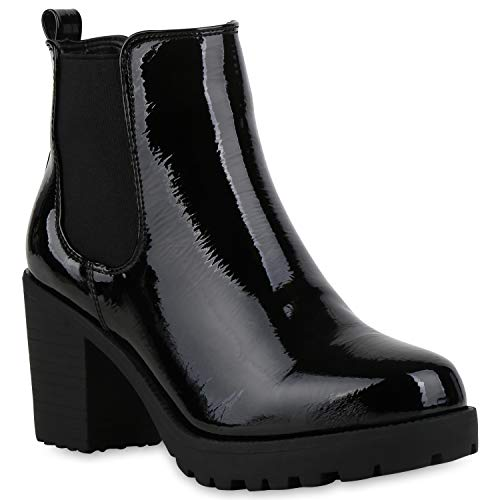 Booties Damen Stiefeletten Plateau Chelsea Boots Plateau Blockabsatz Leder-Optik Glitzer Schuhe 104774 Schwarz Lack 40 Flandell