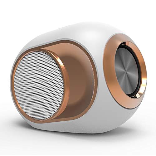 SILENTLY Estéreo Portátil Altavoz, 4D Efecto De Sonido/Bluetooth 5.0 Conexión/FM Radio Función Bluetooth Altavoz Inalámbrico, Compatible con El Teléfono Móvil/Tableta,Blanco