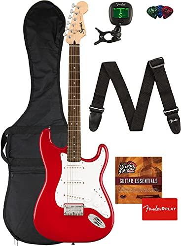 Fender Squier Bullet Stratocaster HT - Dakota Red Bundle with Gig Bag, Tuner, Strap, Picks, and Austin Bazaar Instructional DVD