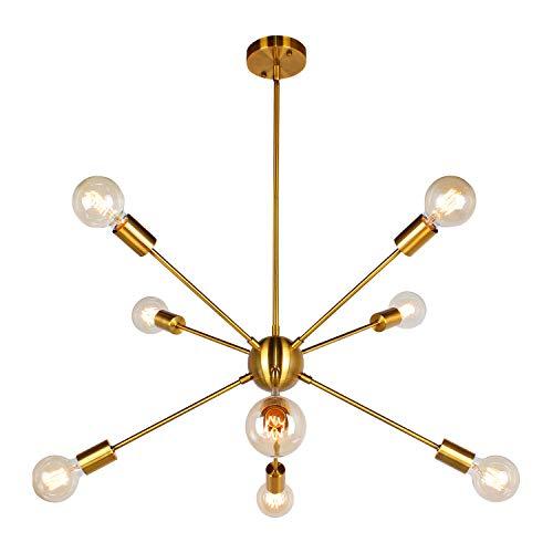 JHLBYL Sputnik Lampadario in Metallo Moderna 8 Luci Bronzo Dorato Vintage Lampada per Soggiorno Cucina Camera da Letto Sala da Pranzo