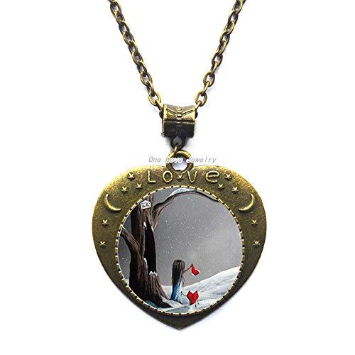 Ni36uo0qitian0ozaap Nuevo pequeño colgante de corazón roto joyería solitaria Navidad colgante de cristal cabujón collar regalo, TAP278