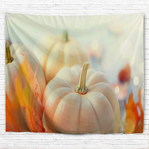 IcosaMro Kürbis-Duschvorhang für Badezimmer mit Haken, Erntedankfest, bunte Herbst-Dekorationen, Badezimmer-Gardinen, 71 B x 72 L, weiß
