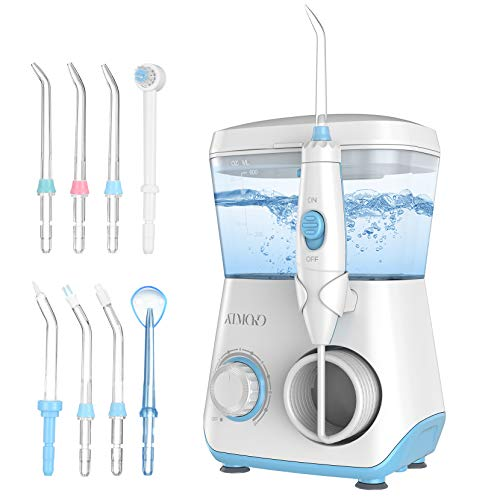 Professional Countertop Water Flosser, ATMOKO 600ml Water Pick Teeth Cleaner with 7 Multifunctional Jet Tips & 1 Toothbrush Head, Dental Oral Irrigator for Home, Family, Braces & Bridges Care White