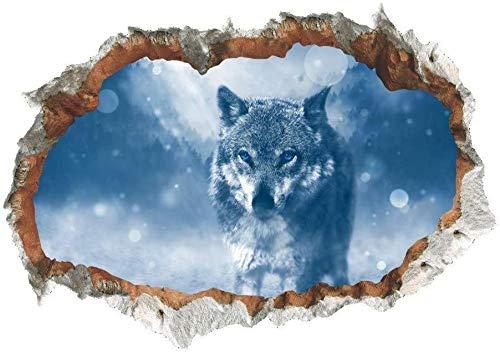 LMMLYR 3D Pegatinas de pared pintura de lobo Extraíble Agujero en la pared Vinilo Decorativo Pegatinas Vista de Efecto Adhesivos De Pared
