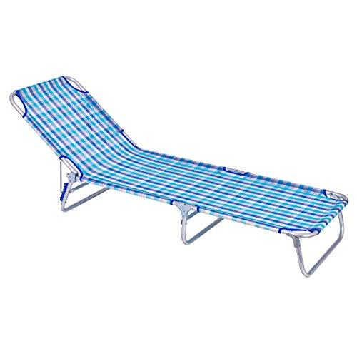 LOLAhome Tumbona Playa Cama de 3 pies de Aluminio y textileno (Azul Cuadros)