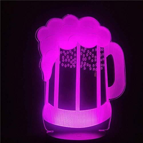 Creativo Boccale Di Birra 3D Led Light 7 Colori Che Cambiano 3D Night Light Led Per Bar Home Store Lampada Da Notte Decorativa Per Regalo Di Natale