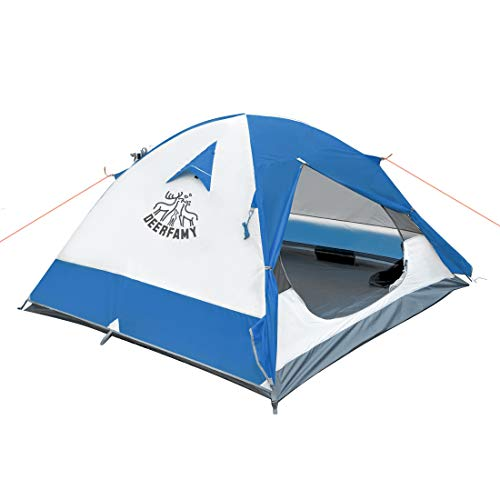 DEERFAMY 3 4 Person Tent, Waterproof Tents for Camping, Ultralight Backpacking Tent with Aluminum Poles and Expandable Storage Bag, Blue Tent/Orange Tent