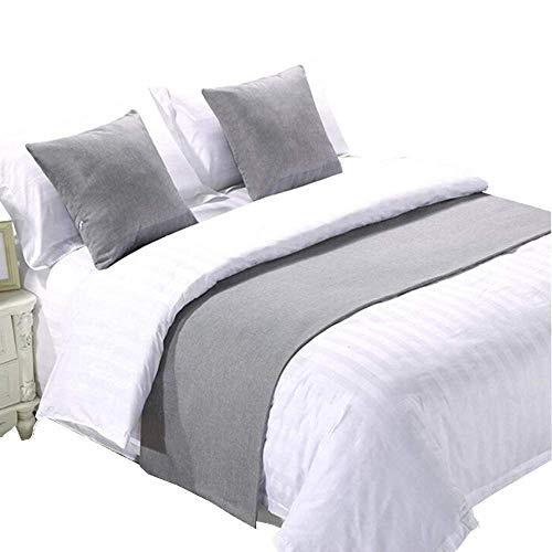 YIH Parure de lit 3 pièces Gris clair 260 cm x 50 cm, 1 chemin de lit + 2 housses de coussin, écharpe de lit, housse de protection pour animaux domestiques