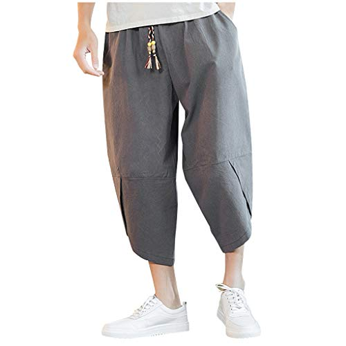 Great Features Of Men's Harem Capri Pants | Men Plus Size Wide Leg Loose Fit Yoga Workout Jogger S...