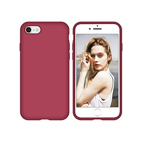 Nupcknn Schutzhülle für iPhone SE 2020/ iPhone 7 iPhone 8, Silikon, Flüssigsilikon, mit Mikrofaserfutter, Rosa Rot