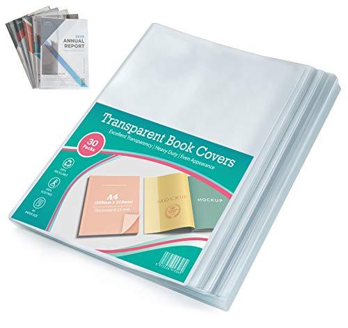 30x Buchumschlag DIN-A4 transparent, Sparpack Heft-Hüllen Buchschoner Umschläge, 150 µ flexibel & abwischbar Schutz-Hülle für Arbeit /Schul-Hefte 30,5 x 43 cm