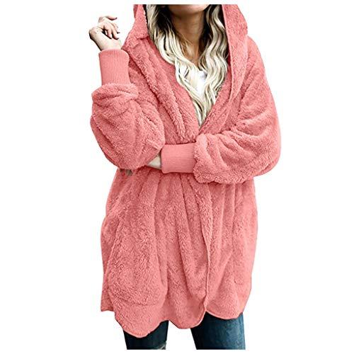 ZuzongYr – Sudadera para Mujer con Capucha y Cremallera para Invierno, Abrigo cálido de Felpa, Chaqueta de Punto para Mujer, Abrigo de Forro Polar Rosa XXXL
