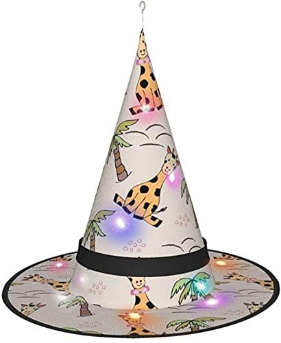KINGAM Bonito sombrero de bruja de jirafa con luz, para disfraz de Halloween, fiesta de disfraces, cosplay y uso diario