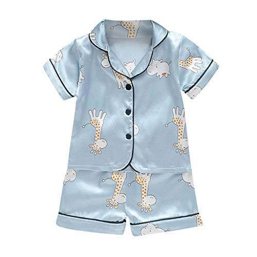 HDUFGJ Jungen Mädchen Zweiteiliger Schlafanzug Baumwolle Lange Nachtwäsche Cartoon drucken Kinder Pyjama Schlafanzüge Schlafanzughosen Schlafanzugoberteile Schlafstrampler