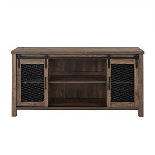 "Pemberly Row 58"" Farmhouse Sliding Barn Door Wood TV Stand Console Buffet Sideboard Credenza Storage Cabinet in Rustic Dark Walnut Barnwood"