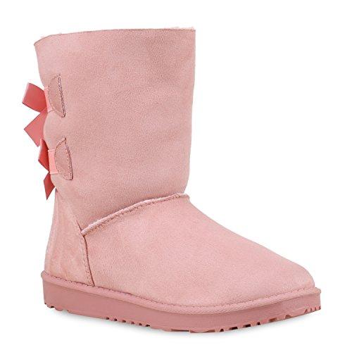 Bequeme Damen Schlupfstiefel Winter Boots Stiefel Gefüttert Schuhe 129787 Rosa Berkley 40 Flandell