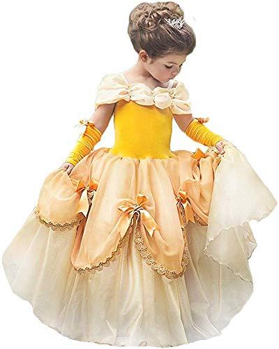 OBEEII Princesse Belle Déguisement La Belle et La Bête Fille Cosplay Costume Enfant Robe de Carnaval Soirée Halloween Fêtes Noël Anniversaire Cérémonie Jaune 2-3 Ans