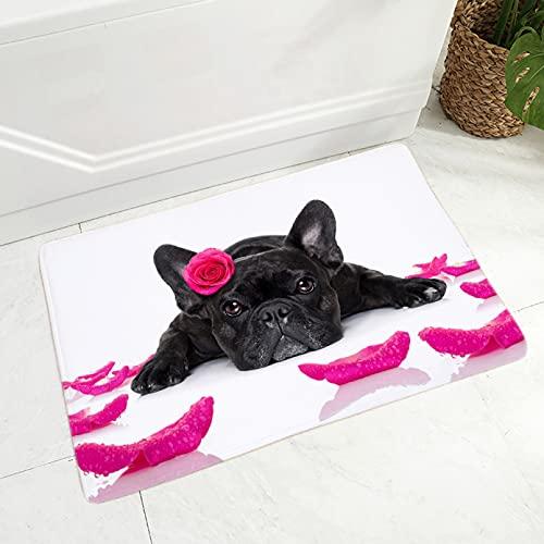 DQLREW Felpudo 3D impresión Alfombra Mini Bulldog Felpudo Decoración Lindo Perro Mascota Animal Piso Puerta Alfombra para Pasillo Dormitorio Antideslizante Alfombra de Franela Suave-16x24inch