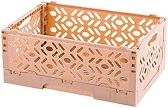 HXSD Fold Storage Basket Plastic Storage Container Box Home Use Storage Basket Food Clothes Storage Boxes (Color : Pink Pl...