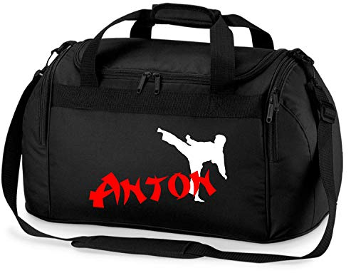 Sporttasche mit Namen | Motiv Karate in weiß & rot für Jungen & Mädchen | Reisetasche zum Umhängen (schwarz)