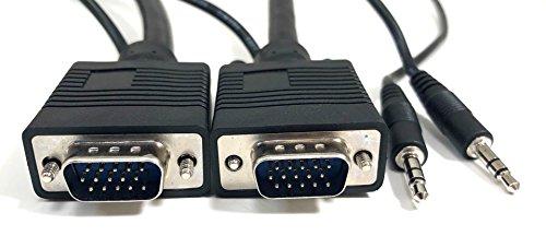 Micro Connectors, Inc. 25 feet XVGA/SVGA/VGA Projector Monitor Cable with 3.5 mm Stereo Audio plug (M05-112AU25)