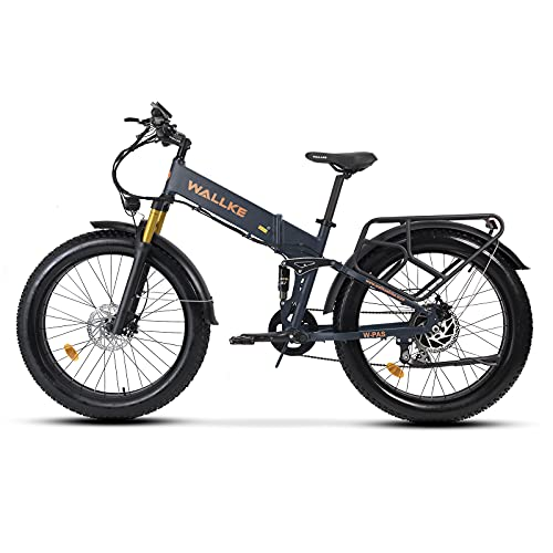 W Wallke Ebike Folding Electric Bike for Adults X3 Pro 750W Fat Tire Electric Mountain Bicycle 48V Lithium Battery Ebike 26 Inch Dual Suspension Premium Aluminum Alloy Frame
