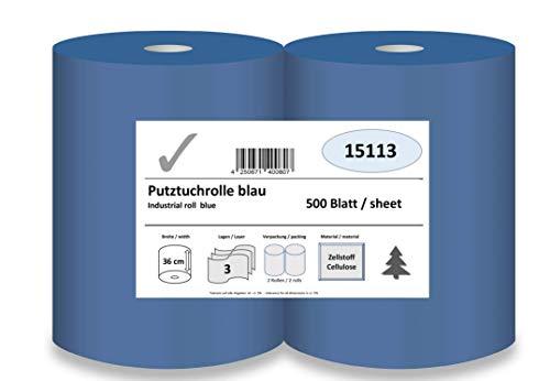 Putztuchrolle, 3-lagig, 36 cm x 500 Blatt, blau, Zellstoff verklebt, 2 Rollen/Pack; Putzpapier für Küche, Werkstatt, Büro oder Zuhause.