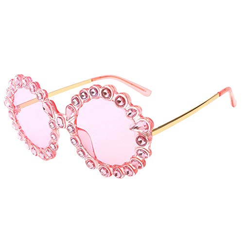 Sunwd Gafas de Sol, Luxury Designer Round Vintage Rhinestone Oversized Sunglasses Women Crystal Rays Trendy Sun Glasses Sexy Gold Pink