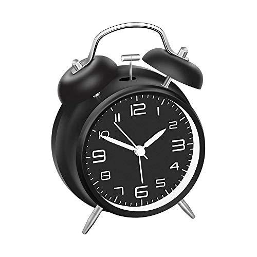 Reloj Despertador de Doble Campanas con luz Nocturna, Gran Esfera de 4 Pulgadas, Vintage Despertadores de Mesita Relojes, Sin Tictac, Silencioso, Timbre de Alarma Retro (Negro)