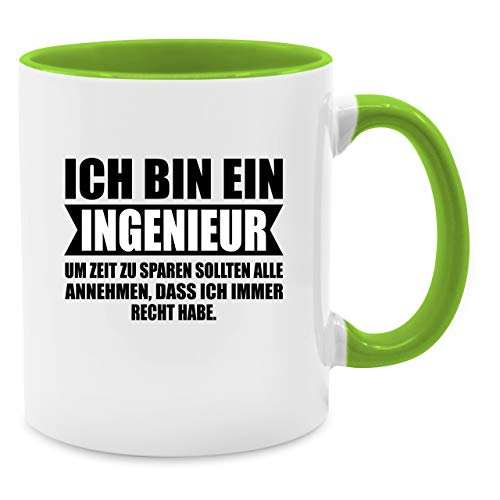 Statement Tasse - Ich bin Ingenieur - Unisize - Hellgrün - ingenieur tasse - Q9061 - Kaffee-Tasse inkl. Geschenk-Verpackung