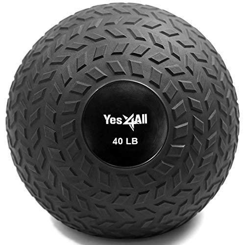 Yes4All 40 lbs Slam Ball, Medicine Ball for Strength and Crossfit Workout - Fitness Exercise Ball with Grip Tread & Durable Rubber Shell (40 lbs, Black)