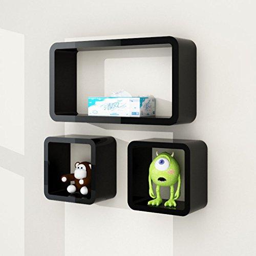Young baby Étagères murales ensemble de 3 étagères flottantes de cube, cadre de décoration de mur de fond, 5 couleurs. (Color : Black)