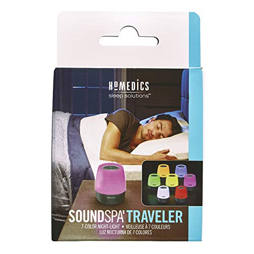 Homedics SoundSpa Traveler White Noise Sound Machine, 6 Sounds with Color-Changing Night-Light, Perfect for Traveling, Nursery, Bedroom, Spa, Home Office, Rechargeable and Portable, White