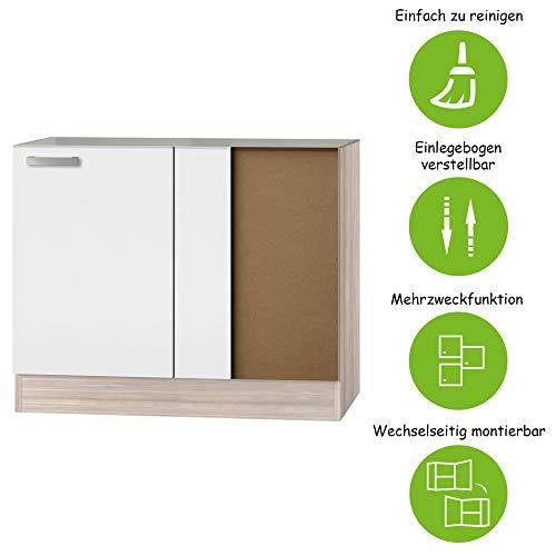 MMR Eck-Unterschrank Küche DALLAS, 1-türig, ohne Arbeitsplatte, 100 cm breit, wechselseitig montierbare Tür, Weiß/Akazie Dekor