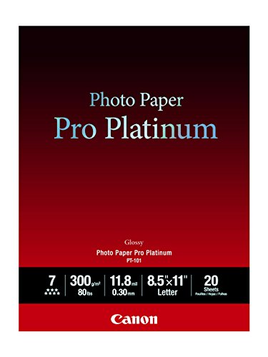Canon Photo Paper Pro Platinum, 8.5 x 11 Inches, 20 Sheets (2768B022)