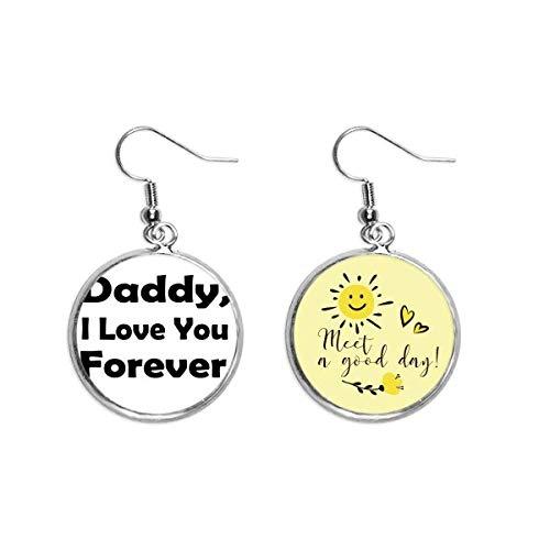 Pendiente de flor con texto en inglés 'Love You Dad'