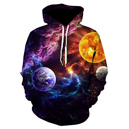 ZCMWY Space Galaxy Hoodies Herren/Damen Sweatshirt Kapuze 3D Cap Hoody Print Jacke M