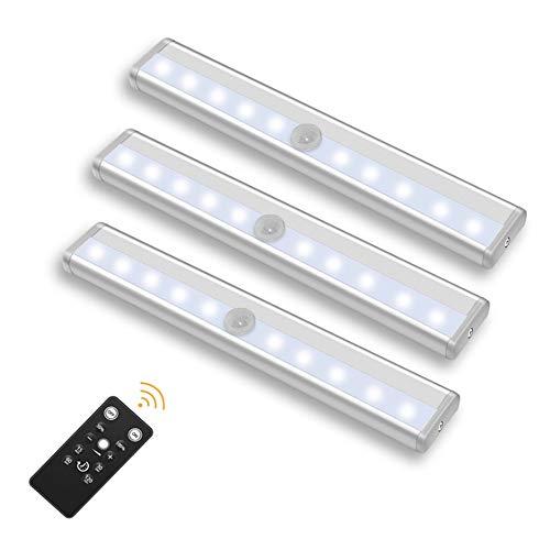 Luce Notturna a 10 Luci LED, Portatile Alimentata a Batterie Luce Notte Striscia Magnetica Adesiva Luce per Armadio Scale Corridoio Cucina Garage Auto/On/Off