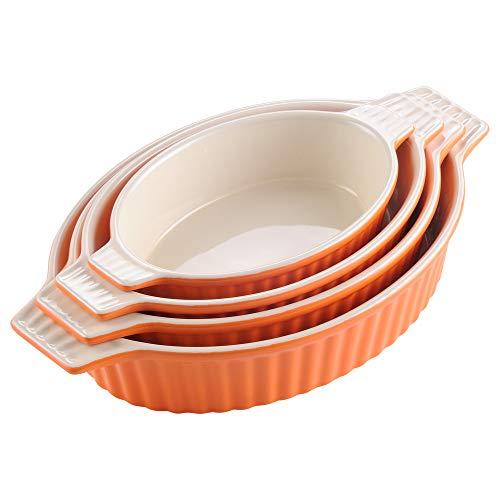 MALACASA Serie Bake.Bake Juego de Bandejas para Horno Molde Pan de Cerámica y Hornear Molde para Horno y Cocina, Juego de 4 Unidades (23,5 cm, 28 cm, 31 cm, 35 cm), Color Naranja