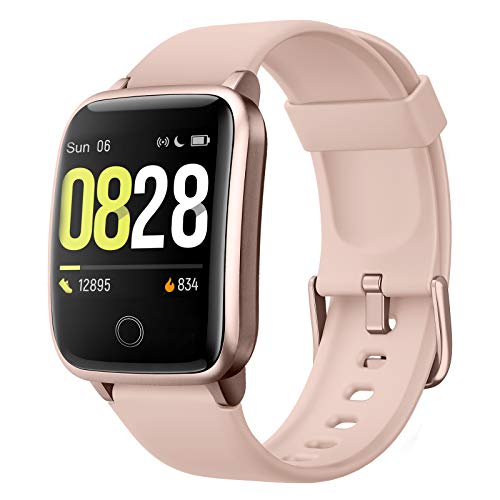 Smartwatch, Reloj Inteligente Impermeable IP68 para Hombre y Mujer, Pulsera de Actividad Inteligente con Pulsómetros Podómetro Cronómetro Contador de Caloría para iOS y Android (Rosa)