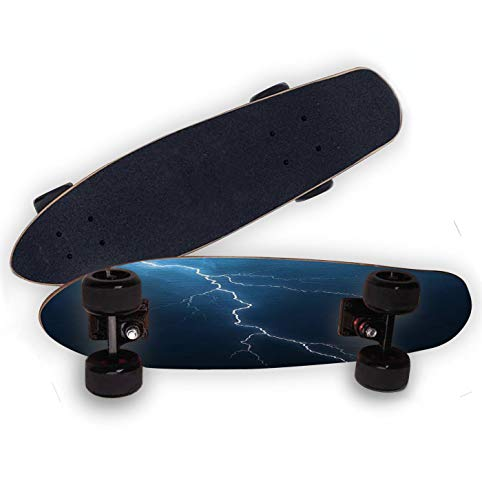 VLLKWANKI Longboard Lightning with cloudscape 27' Mini Cruiser Skateboard Sports and Outdoors Penny Board for Kids Teens&Youths,Frosted high Elastic PU Wheel