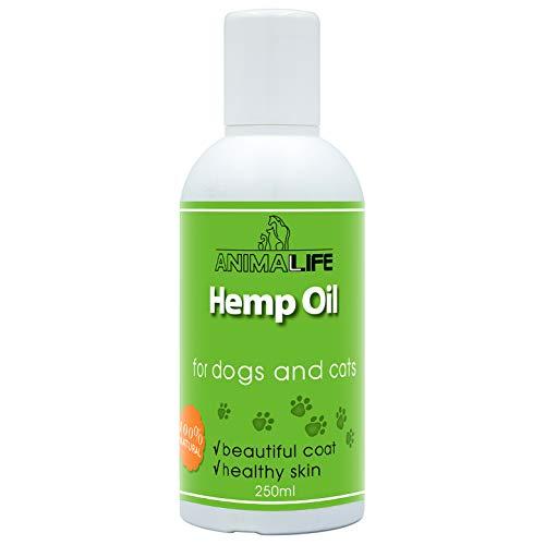 Olio di Canapa - per Cani & Gatti 250ml - 100% Naturale Olio - Migliora il Sonno - Supplemento Omega 3 6 9 - Allevia l ansia - Aiuta a Migliorare la Salute - Sollievo dal Dolore