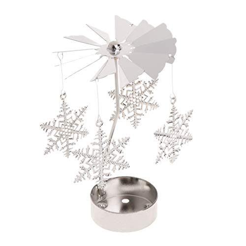 Oranmay Rotary Spinning Tealight Candle Metal Tea Light Holder Carousel Home Decor Gift (Snowflake)