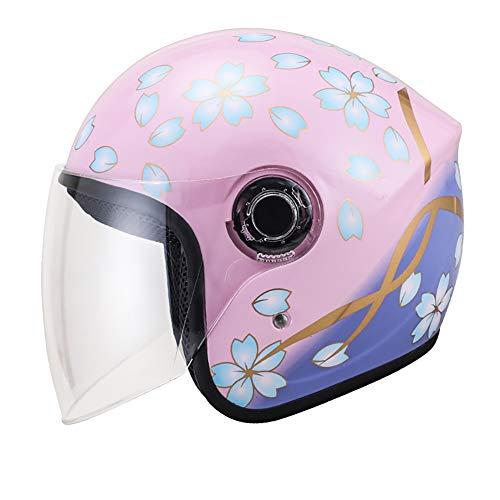 LALEO Offenes Motorradhalbhelm, Sommer Universalgröße Einstellbar Abnehmbar Atmungsaktiv Damen und Herren Jet-Helm Scooter-Helm ECE Genehmigt (55-62cm),Pink